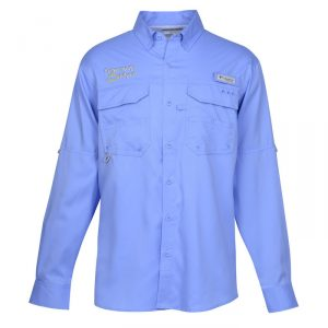 A blue Columbia Stain Release UPF 50 Performance Shirt.
