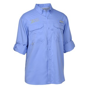 A blue Columbia Stain Release UPF 50 Performance short-sleeve Shirt