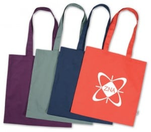 Cotton sheeting totes in orange, navy, gray and burgundy