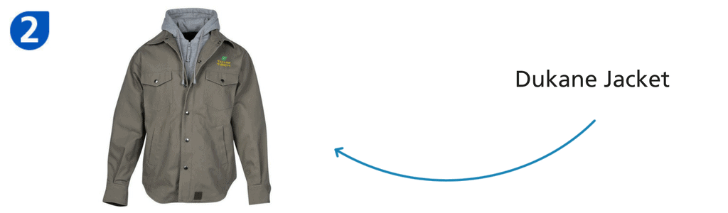 Number two: khaki long-sleeved dukane jacket with gray hood