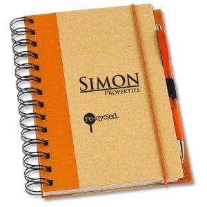 An orange Eco Design Recycled Color Spine Spiral Notebook