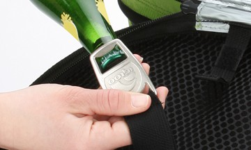 An attached bottle opener on the Igloo Deluxe Collapsible Cooler