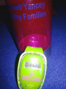 A pedometer from 4imprint® for the Mitchell Yancey Healthy Families program.