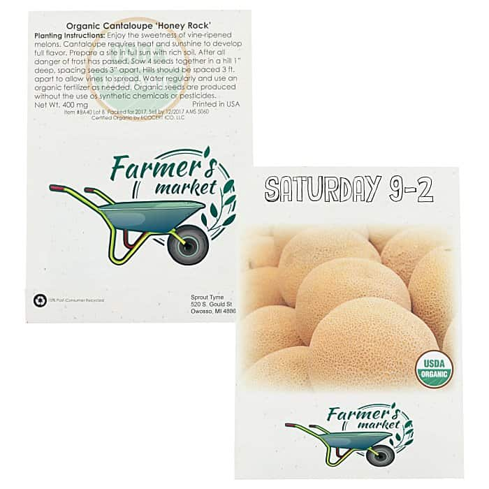 Organic Seed Packet Cantaloupe | Custom-printed seed packets from 4imprint