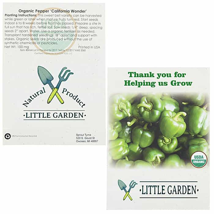 Organic Seed Packet Green Pepper | 4imprint custom-printed seed packets