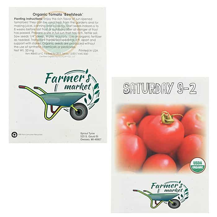 Organic Seed Packet Tomato | 4imprint custom-printed seed packets