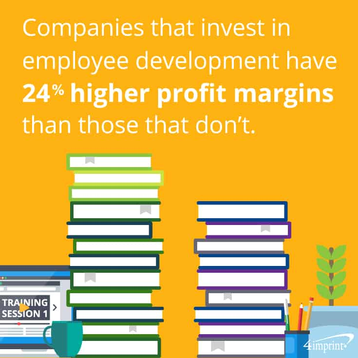 Companies that invest in employee development have 24% higher profit margins than those that don't. Using personal development gifts can help them build their skills.