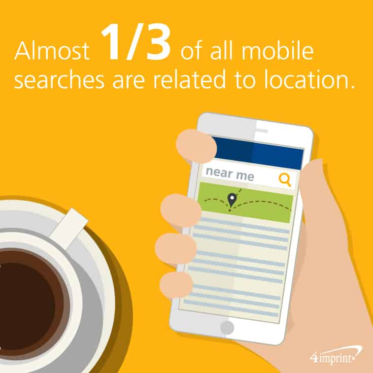 Almost 1/3 of all mobile searches are related to location. Find ways to use marketing swag to help with local marketing.