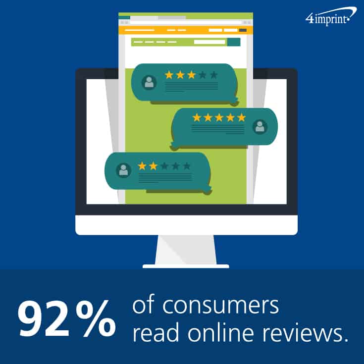 92% of consumers read online reviews. See how marketing swag can be used to thank customers for reviews.
