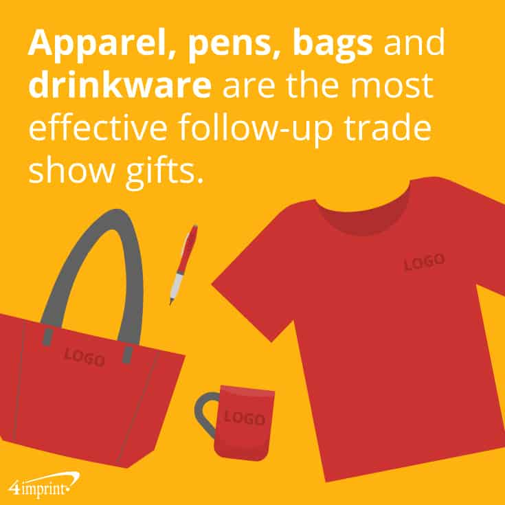 Apparel, pens, bags and drinkware are the most effective follow-up trade show gifts.