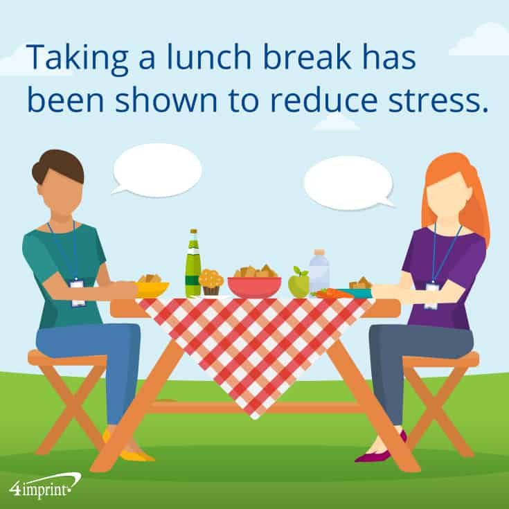 Taking a lunch break has been shown to reduce stress. These company picnic giveaway ideas can help!