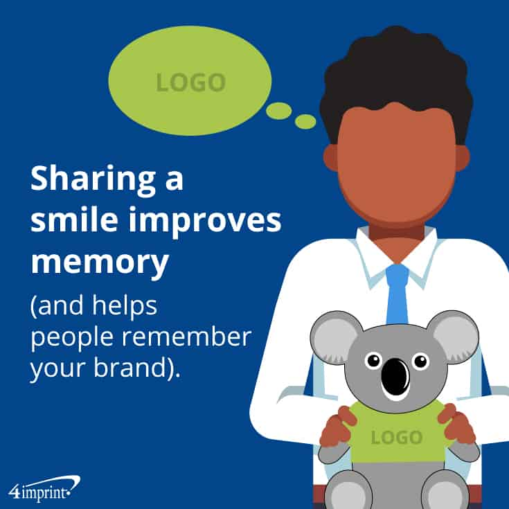 Sharing a smile improves memory (and helps people remember your brand). | 4imprint creative promotional product ideas.