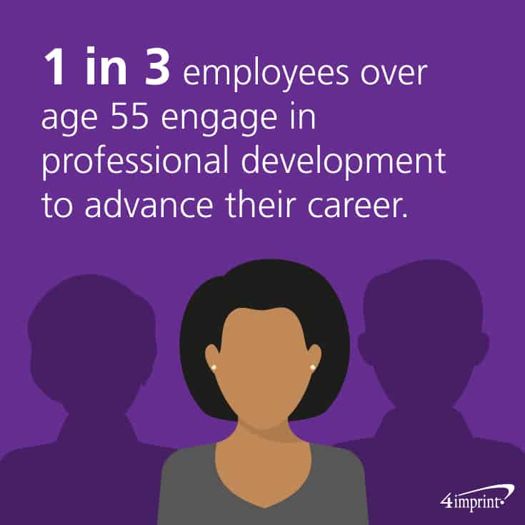 1 in 3 employees over age 55 engage in professional development to advance their career. Get training giveaways to help engage employees in professional development.