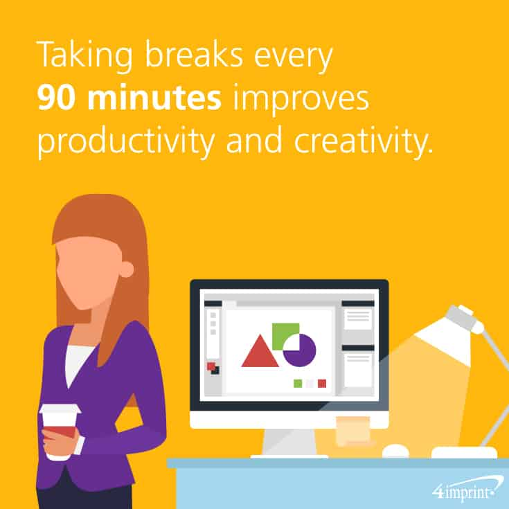 Taking breaks every 90 minutes improves productivity and creativity. Keep productivity and creativity up with these office giveaway ideas.