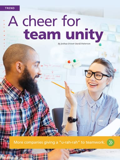 Trend story image: A cheer for team unity - More companies cheering on teamwork.