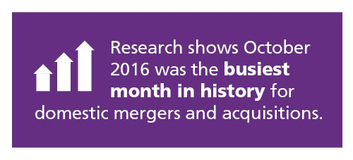 Research shows October 2016 was the busiest month in history for domestic mergers and acquisitions.