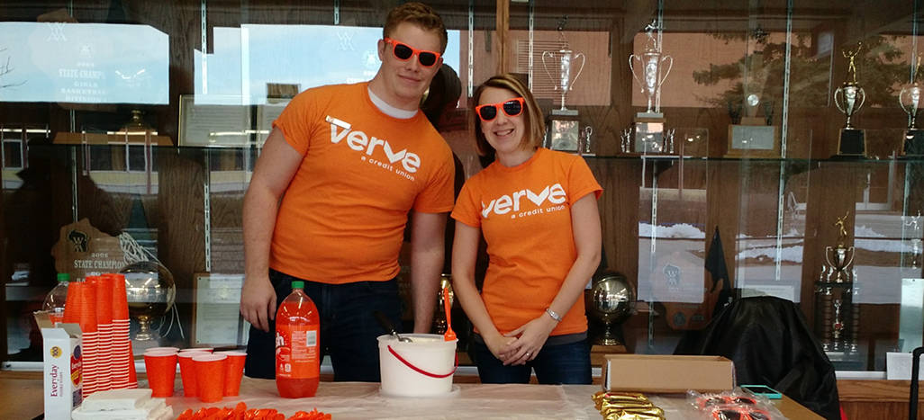 Verve employees in branded shirts