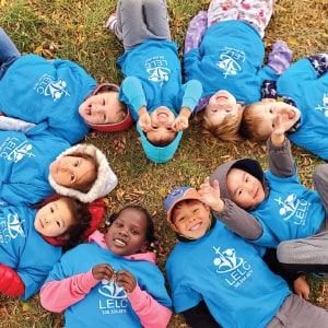 Lutheran Early Learning Center children show off their promotional T-shirts.