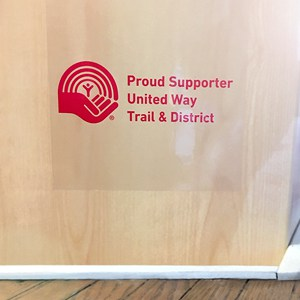 United Way of Trail and District sticker giveaways