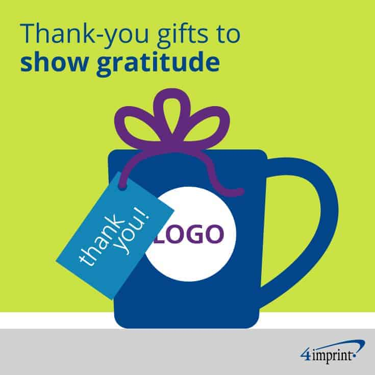 Thank-you note attached to a branded mug.