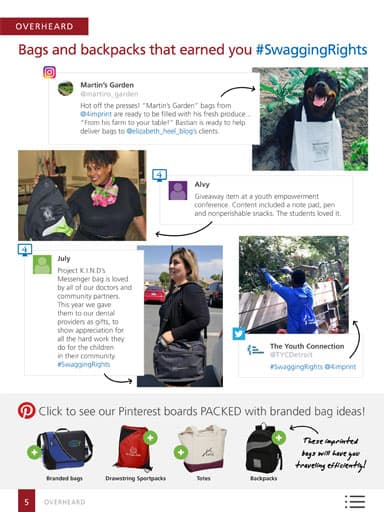 amplify promotional products magazine - Overheard Story - Bags and backpacks that earn you #SwaggingRights