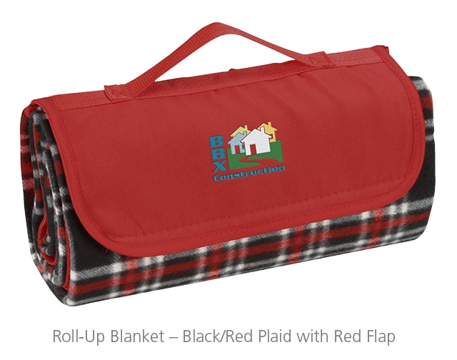 The Roll-Up Blanket - Black/Red Plaid with Red Flap makes a warmly welcomed holiday party gift.