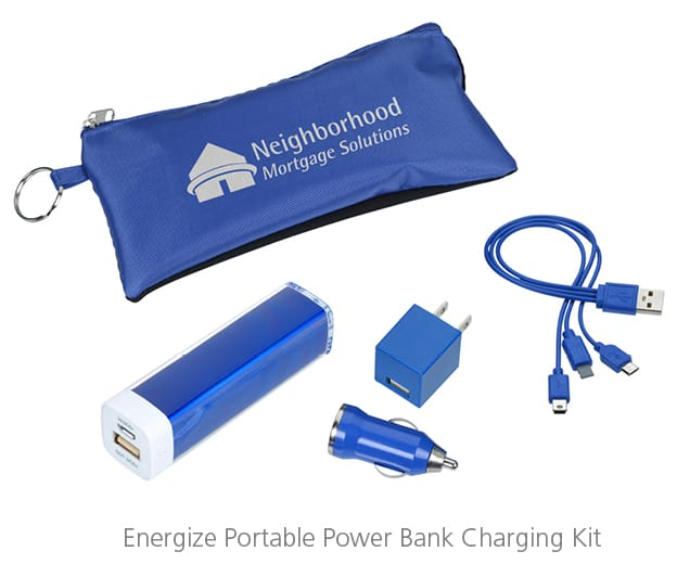 The Energy Portable Power Bank Charging Kit is the holiday party gift that will give them a charge.