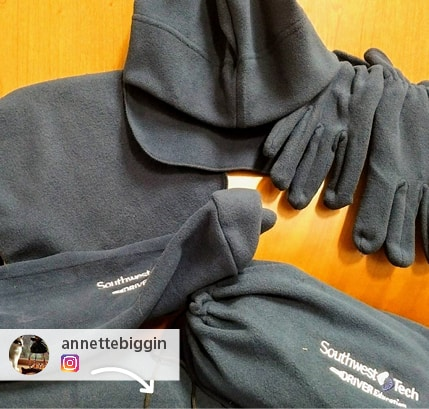 Annette from Southwest Tech shared a photo on instagram of the cozy apparel and branded outerwear their instructors got from 4imprint promotional products