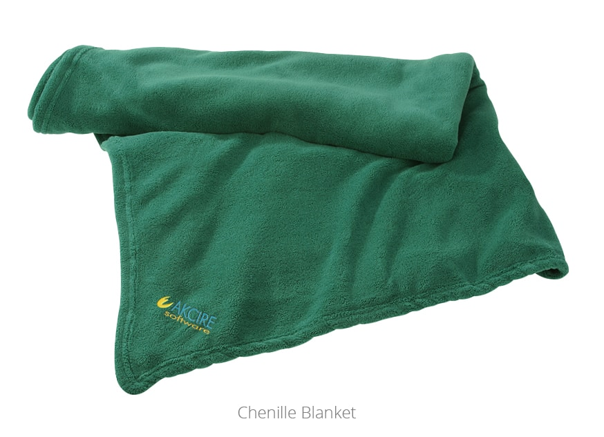A green Chenille Blanket - Promotional Blanket from 4imprint
