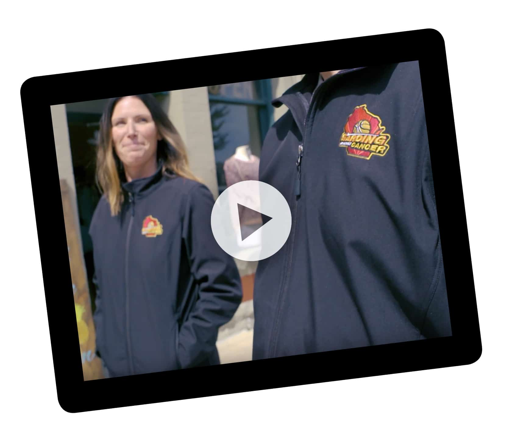 tablet showing video for how Garding Against Cancer used promotional products as a thank-you gift for donors - click to watch video
