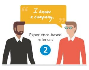 "Experience-based referrals: Person says ""I know a company."""