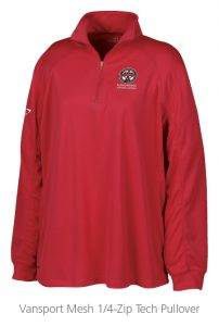 custom work uniforms example: Vansport Mesh 1/4-Zip Tech Pullover
