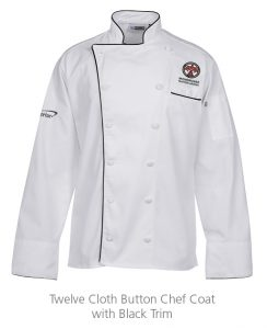 custom work uniforms example: Twelve Cloth Button Chef Coat with Black Trim
