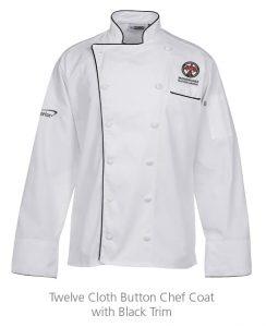Twelve Cloth Button Chef Coat with Black Trim