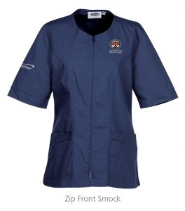 custom work uniforms example: Zip Front Smock