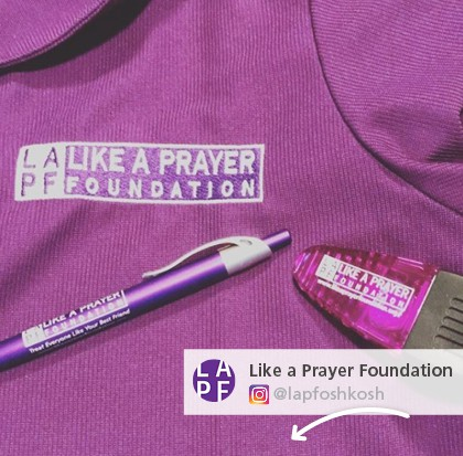 Like a Prayer Foundation posted a photo of their personalized writing instruments along with their branded t-shir and logo'd chip clip