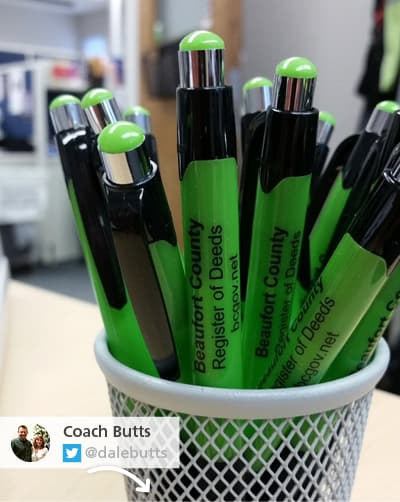 Coach Butts tweeted a photo of unique promotional pens