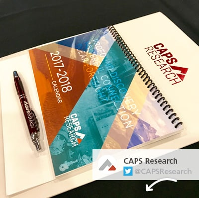 CAPS Research tweeted a photo of the personalized writing instruments and other materials they used for a supply management roundtable