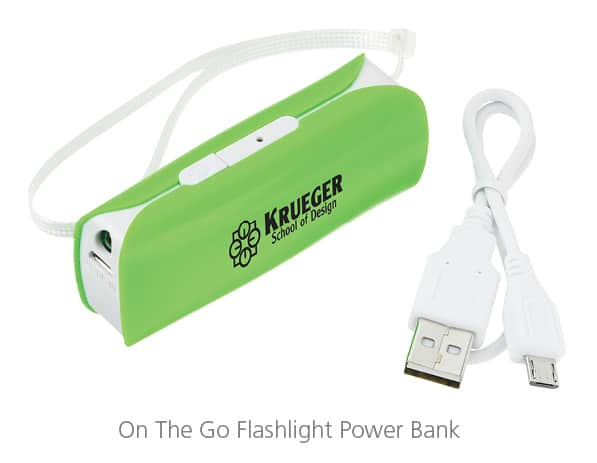 Branded On The Go Flashlight Power Bank - technology swag for event giveaways