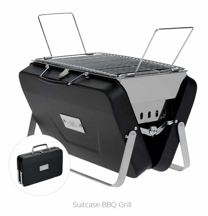The Suitcase BBQ Grill is the outdoor promotional item for camping and cookouts.