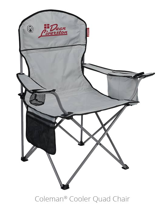 The Coleman Cooler Quad Chair is a comfy outdoor promotional item.
