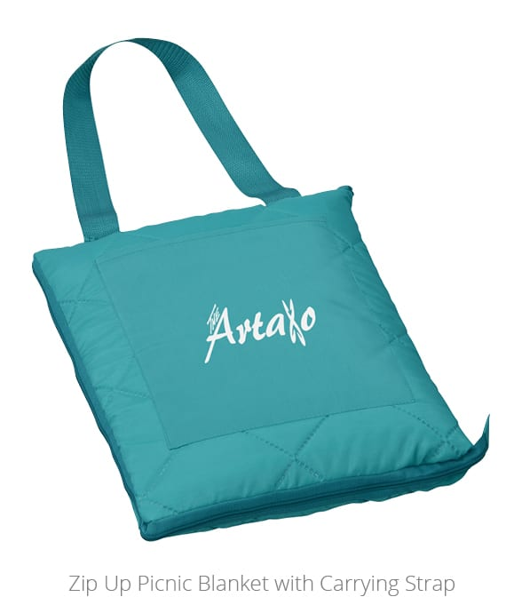 The Zip Up Picnic Blanket with Carrying Strap is a great outdoor promotional item.