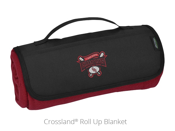 The Crossland Roll Up Blanket is a helpful outdoor promotional item.