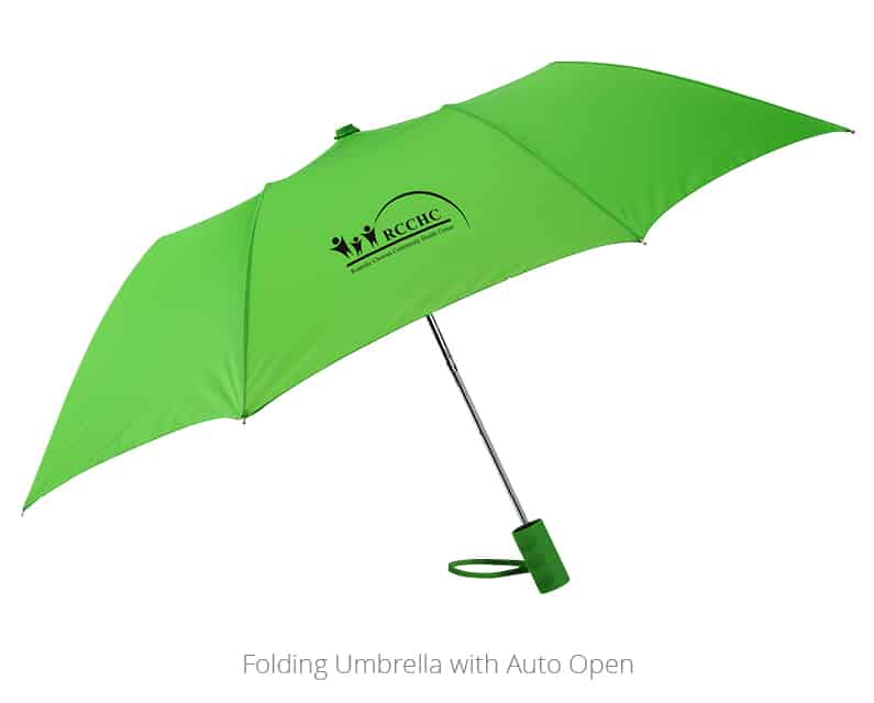 Picture of branded Folding Umbrella with Auto Open. a 4imprint customer used the promotional umbrella as a professional development gifts to help engage employees.