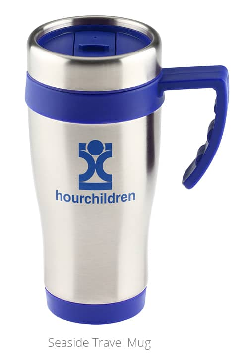 Picture of branded travel mug a 4imprint customer used the promotional mug as a professional development gifts to help engage employees.