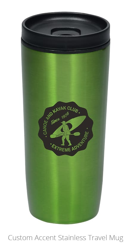 Photo of branded Stainless Travel Mug. A great idea for employee personal or professional development gifts.