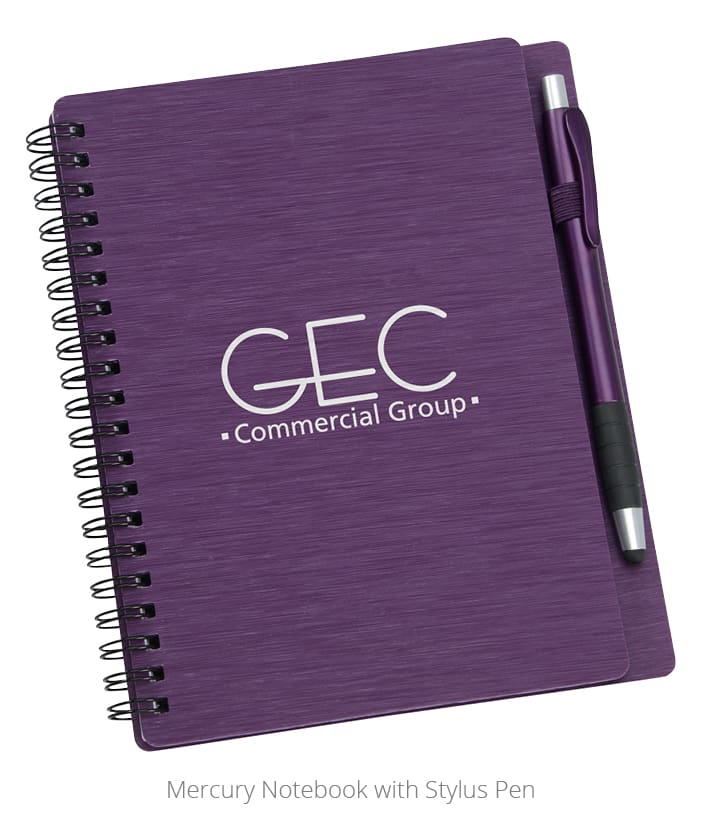 Photo of branded notebook with stylus pen. A great idea for employee personal or professional development gifts.