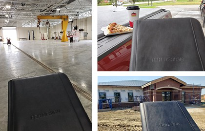 padfolio in a warehouse, in a car, at a construction site