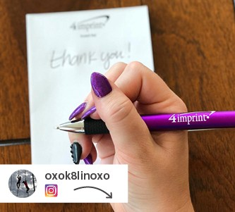 Social post showing a promo pen and matching painted fingernails.