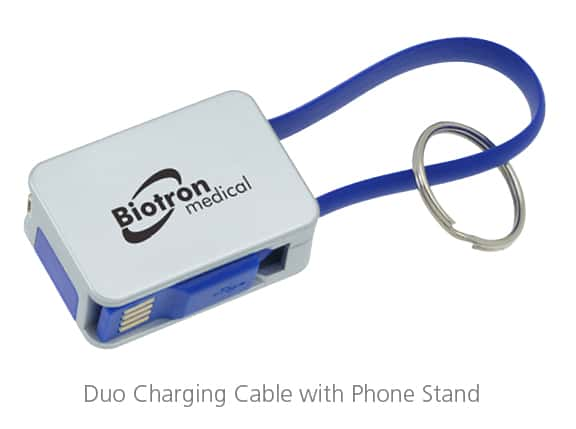 Duo Charging Cable with Phone Stand - Tech product idea for trade show giveaways